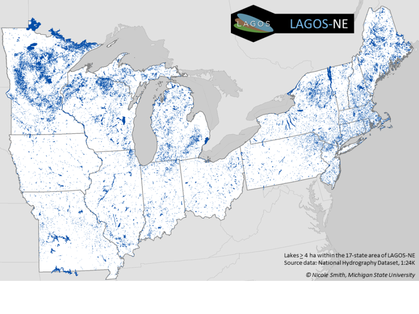 A map of the LAGOS-NE study extent that includes 17 lake-rich states in the US