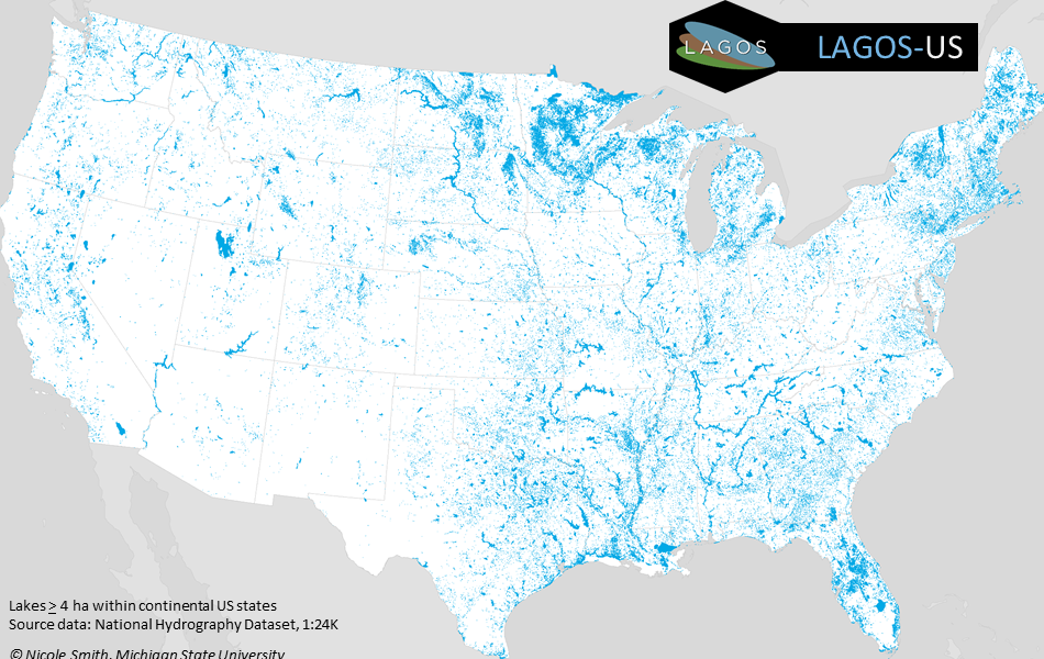 A map of the study extent of LAGOS-US that includes 48 US states, and all lakes >= 4 ha