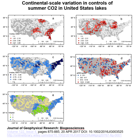 United States Map With Lakes.Map Of The Continental Scaled Controls Of Summer Co2 In Lakes By Jf